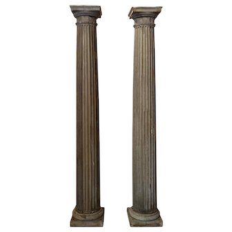 Pair Of 19th Century Antique French Pine Columns
