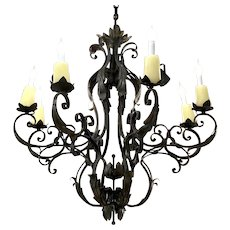 Antique French Louis XV Style Wrought Iron 8 Light Chandelier