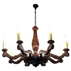 Antique French Louis XV Style Oak Eight Light Chandelier