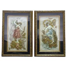 Pair of 19th Century Austrian Enamel Hammered Brass Allegorical Plaques - Red Tag Sale Item
