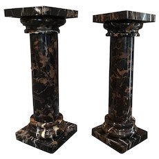 Pair Of Portor Marble Columns Plant Stands