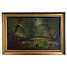 Oil On Canvas Painting The Stream