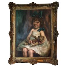 Oil On Canvas Painting The Girl With Her Teddy Bear