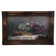 19th Century Antique Oil On Canvas Flowers And Fruits Painting