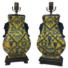 Pair of French Art Nouveau Lamps