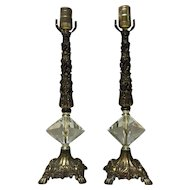 Pair of Brass With Glass Prism Lamps