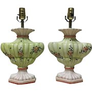 Pair of Italian Florentine Porcelain Floral Lamps