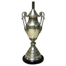 English Urn Shaped Silvered Lamp