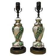 Pair of French Art Nouveau Porcelain Lamps