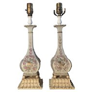 Pair Of Art Nouveau Style Floral Lamps