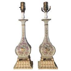 Pair Of Art Nouveau Style Floral Lamps