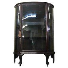 Antique English Victorian Demi-Lune Curio Bookcase