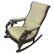 English Swan Duck Arm Mahogany Rocking Chair