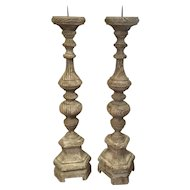 Pair Of 19th Century Distressed French Pine Candlesticks