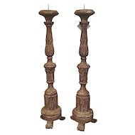 Pair of 19th Century Italian Pear Tree Candlesticks
