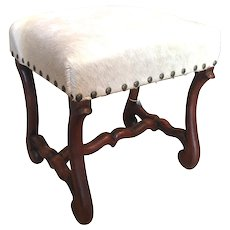 19th Century French Os De Mouton Cowhide Bench