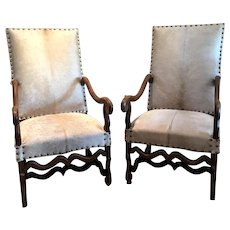 Pair of 19th Century French Os De Mouton Cowhide Armchairs