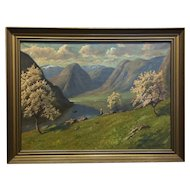 Oil On Canvas Spring Landscape By Finn Wennerwald