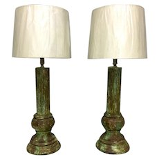 Pair of Italian Faux Cast Iron Corinthian Columns  Lamps