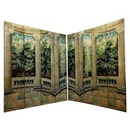 Pair of Italian Hand Painted Folding Screens 8 Panels Veranda Garden