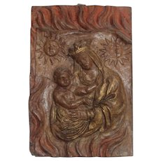 16th Century Antique French Madonna and Child Plaque