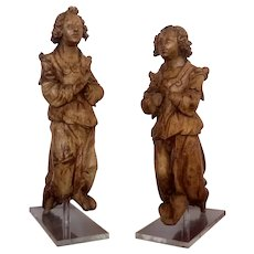 Pair of 15th Century Antique Renaissance Period Liegeois Smiling Angels