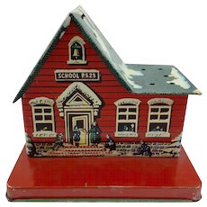 Vintage Tin School House Lollipop Display and Bank