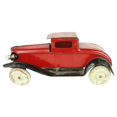 Vintage Wyandotte Red and Black Tin Coupe c. 1930's