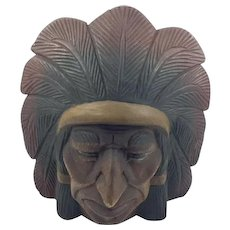 Vintage Folk Carving of an Indian Chief