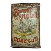 Sweet Violet Cube Cut Pocket Tobacco Tin - Rare