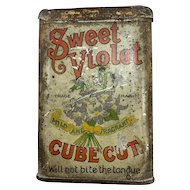 Sweet Violet Cube Cut Pocket Tobacco Tin - Rare