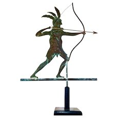 Molded Copper Indian Weathervane c. 1930