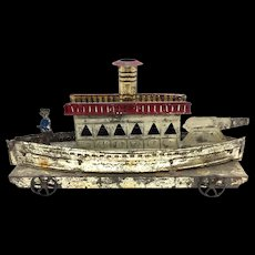 Early Tin French Battleship Toy c. 1890's
