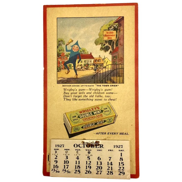 wrigley s 1927 calendar and coupon book the vintage crate ruby lane
