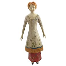Hand Carved, Hand Painted Figure of a Woman