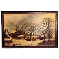 """Folk Art Painting of """"The Old Inn - Winter"""""""