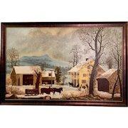 """Folk Art Painting of """"Jones Inn - Winter"""""""