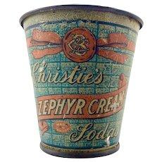 Christie's Zephyr Cream Sodas Advertising Pail c.1910