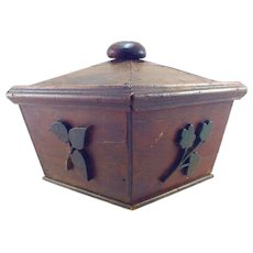 Folk Art Shaped Lidded Box with Applied Florals