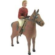 Folk Art Carving Of Rider & Horse