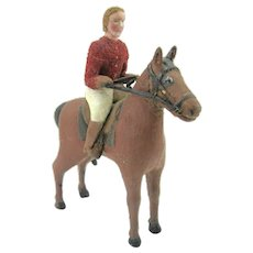 Folk Art Carving Of Rider & Horse