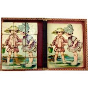 Antique lithograph picture block puzzle, children at the beach