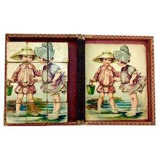 Antique lithograph picture block puzzle, children at the beach