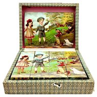 Antique lithograph picture block puzzle