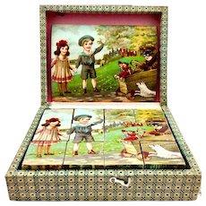 Antique lithograph picture block puzzle