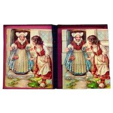 Antique lithograph picture block puzzle, fairy tales.