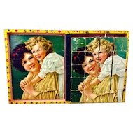 Antique lithograph picture block puzzle, girl at the beach