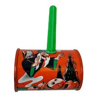 Vintage Cohn Tin Litho Barrel Style Noisemaker (Witch & Ghost)