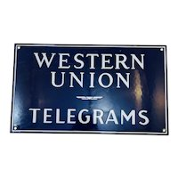Western Union Telegrams Sign, Porcelain c. 1920
