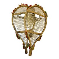 Rare Magnificent Pair of Native Made Child Snow Shoes with Binding